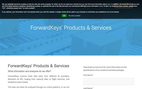 Screenshot of Products Page forwardkeys.com - ForwardKeys products - captured Nov. 6, 2018