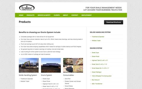 Screenshot of Products Page torrac.ca - TORRAC Oilfield Services - captured Oct. 9, 2014