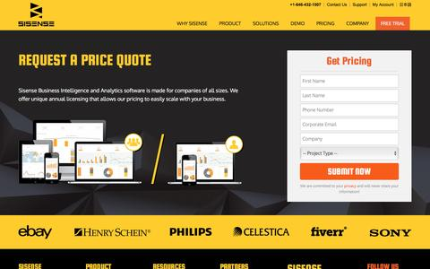 Screenshot of Pricing Page sisense.com - Pricing for Business Intelligence & Analytics Software | Sisense - captured Nov. 9, 2016