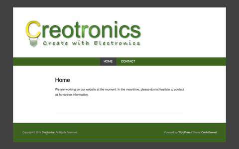 Screenshot of Home Page Menu Page creotronics.be - Creotronics website - captured Sept. 30, 2014