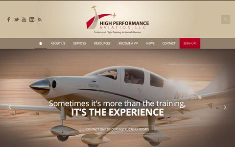 Screenshot of Home Page flyhpa.com - High Performance Aviation, LLC // Garmin G1000 Training // Cessna Corvalis TT Training // Cirrus Training // Columbia Aircraft Training // Houston, Texas // Customized Flight Training for Aircraft Owners - captured Sept. 19, 2015