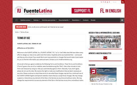Screenshot of Terms Page fuentelatina.org - Terms of use - Fuente Latina - captured Jan. 8, 2016