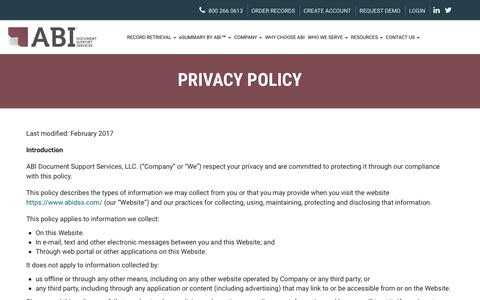 Screenshot of Privacy Page abidss.com - Privacy Policy - ABI Document Support Services, Inc. - ABI Document Support Services, Inc. - captured Oct. 6, 2017
