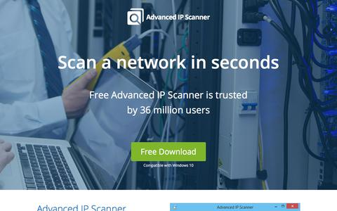Screenshot of Home Page advanced-ip-scanner.com - Advanced IP Scanner - Download Free Network Scanner. - captured Sept. 24, 2018
