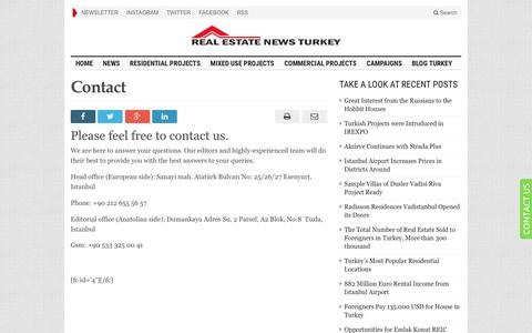 Screenshot of Contact Page realestatenewsturkey.com - Contact - Real Estate News Turkey - captured May 19, 2019