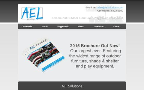 Screenshot of Home Page aelsolutions.com - AEL Outdoor Solutions & Furniture: Commercial Outdoor Furniture, Awnings, Play Equipment. For Cafes, Hotels, Restaurants, Leisure Groups, Bars, Councils. - captured Oct. 3, 2014