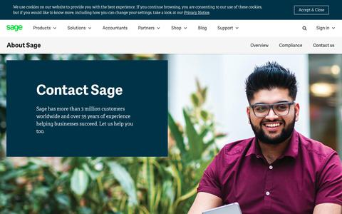Screenshot of Contact Page sage.com - Sage contact information and office locations | Sage South Africa - captured July 17, 2019