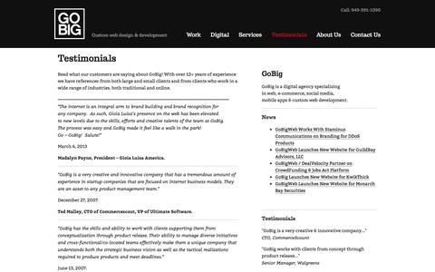 Screenshot of Testimonials Page gobigweb.com - Testimonials | GoBigWeb - Digital Agency - captured July 6, 2016