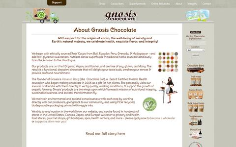 Screenshot of About Page gnosischocolate.com - Raw Chocolate by Gnosis Chocolate - About Gnosis - captured Sept. 19, 2014