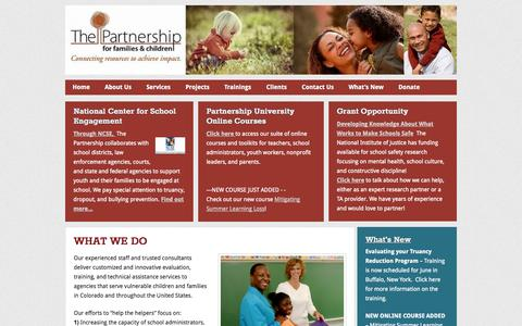 Screenshot of Home Page pffac.org - The Partnership for Families and Children - captured Oct. 6, 2014