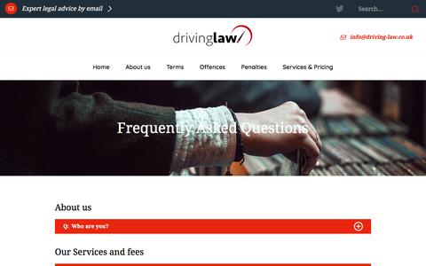 Screenshot of FAQ Page driving-law.co.uk - Driving Law | FAQ's - captured June 26, 2018