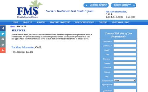 Screenshot of Services Page floridamedspace.com - SERVICES - Florida Medical Office Space - captured Oct. 6, 2014