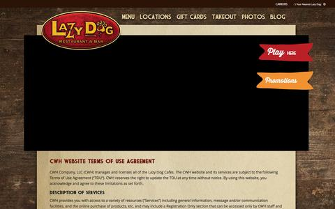 Screenshot of Terms Page lazydogrestaurants.com - Lazy Dog Restaurant & Bar Terms and Conditions - captured Jan. 26, 2016