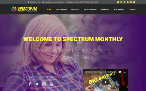Screenshot of Home Page spectrummonthly.com - Spectrum Monthly Publications Local Advertising Direct Marketing - captured July 8, 2018