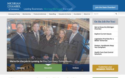 Screenshot of Home Page michamber.com - The State Chamber of Commerce in Lansing, MI - captured Oct. 6, 2014