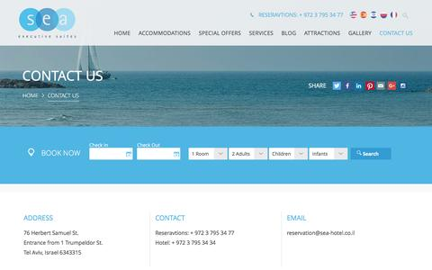 Screenshot of Contact Page sea-hotel.co.il - Contact us | Sea Excecutive Suites - captured Feb. 16, 2016