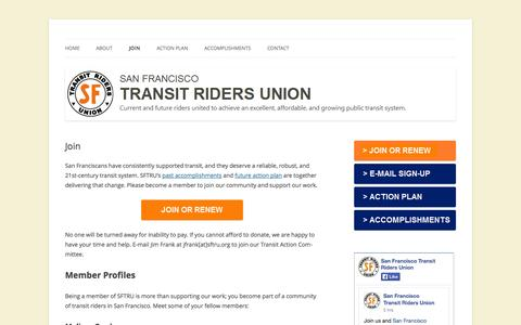 Screenshot of Signup Page sftru.org - Join | San Francisco Transit Riders Union - captured Oct. 4, 2014