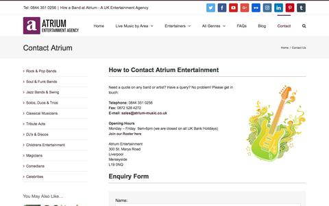 Screenshot of Contact Page atrium-music.co.uk - Contact Atrium Entertainment Agency | Hire a Band at Atrium Entertainment Agency - captured Oct. 9, 2017