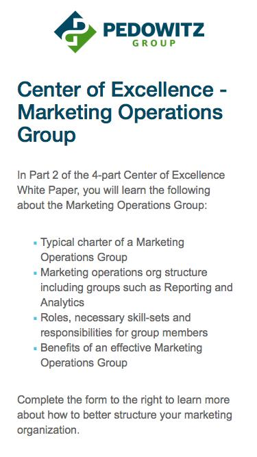 Center of Excellence - Marketing Operations Group