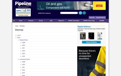 Screenshot of Site Map Page pipelineme.com - Site Map -  Pipeline Magazine - captured Oct. 1, 2014