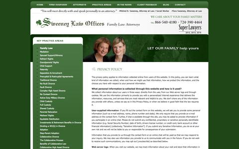 Screenshot of Privacy Page sweeneyfamilylaw.com - Privacy Policy | Sweeney Law Offices | Pittsburgh Pennsylvania - captured Oct. 7, 2014
