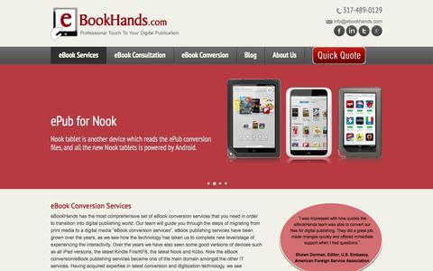 Screenshot of Services Page ebookhands.com - eBook Services, Pdf ePub Conversion, eBook Publishing services, ePub Formatting - eBookHands - captured Sept. 30, 2014