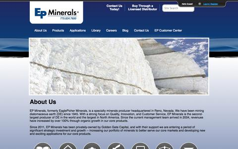 Screenshot of About Page epminerals.com - About Us | EP Minerals - captured Sept. 26, 2014