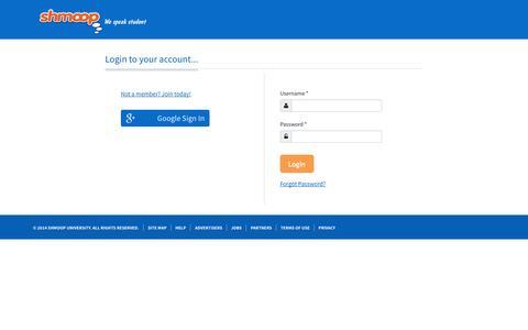 Screenshot of Login Page shmoop.com - Log in to Shmoop - captured Sept. 17, 2014