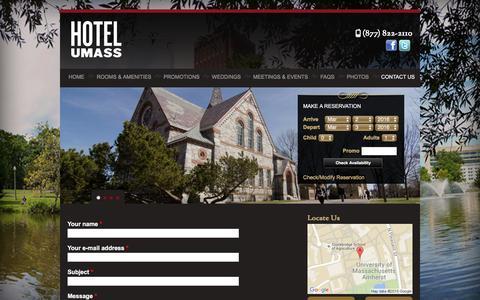 Screenshot of Contact Page hotelumass.com - Contact | Hotel UMass - captured March 2, 2016