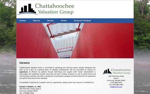 Screenshot of Jobs Page cvg-llc.com - Appraiser in Forsyth Georgia Eminent domain mitigation appraiser Chattahoochee Valuation Group - captured Oct. 2, 2014