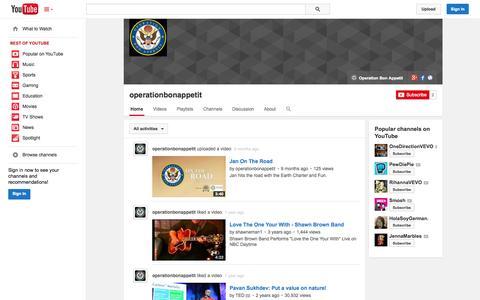 Screenshot of YouTube Page youtube.com - operationbonappetit  - YouTube - captured Oct. 22, 2014