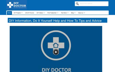 Screenshot of Home Page diydoctor.org.uk - DIY Do It Yourself How To Information and Advice | DIY Doctor - captured Aug. 5, 2018