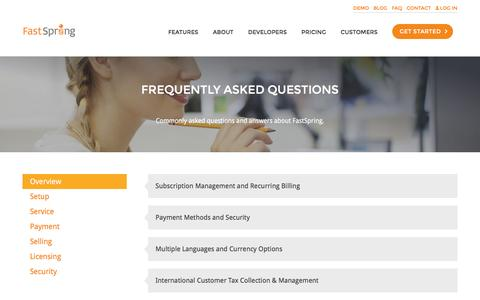 Screenshot of FAQ Page fastspring.com - Frequently Asked Questions About Global e-Commerce Platform | FastSpring - captured Aug. 22, 2016