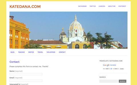 Screenshot of Contact Page katedana.com - Contact | katedana.com - captured Aug. 8, 2016