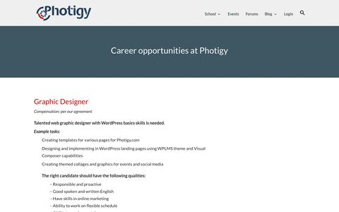 Screenshot of Jobs Page photigy.com - Career opportunities at Photigy - captured Aug. 20, 2019