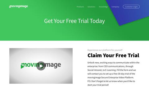 Screenshot of Trial Page movingimage.com - movingimage free trial: get your own corporate tube started today! - captured Oct. 20, 2018