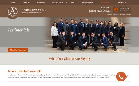Screenshot of Testimonials Page ankinlaw.com - Chicago Medical Malpractice Attorney | Testimonials | Ankin Law - captured Sept. 26, 2018