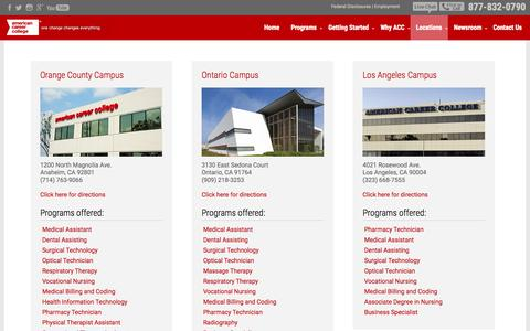 Screenshot of Locations Page americancareercollege.edu - Our Campuses | Colleges in California | ACC - captured July 19, 2015