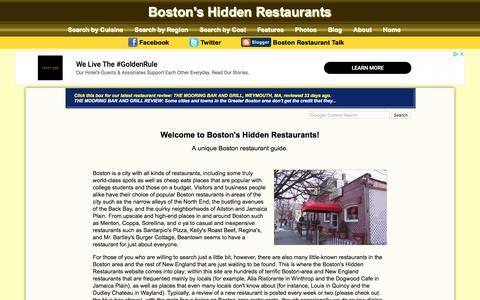 Screenshot of Home Page hiddenboston.com - Boston Restaurant Guide | Boston's Hidden Restaurants - captured Nov. 1, 2019
