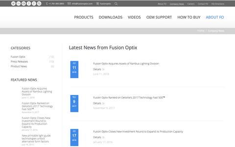 Screenshot of Press Page fusionoptix.com - Fusion Optix | LED Engines, Profile Extrusions, Components & Optical Materials | Company News - Fusion Optix | LED Engines, Profile Extrusions, Components & Optical Materials - captured Dec. 10, 2018
