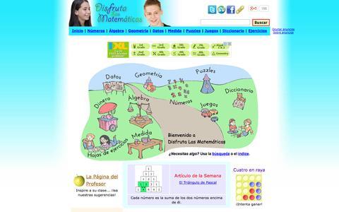 Screenshot of Home Page disfrutalasmatematicas.com - Disfruta Las Matemáticas - captured Sept. 23, 2014
