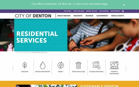 Screenshot of Services Page cityofdenton.com - Residential Services | City of Denton - captured Jan. 1, 2017