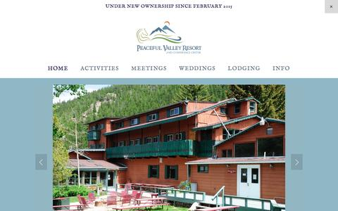 Screenshot of Home Page peacefulvalley.com - Peaceful Valley Resort and Conference Center - captured Oct. 28, 2016