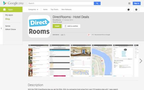 Screenshot of Android App Page google.com - DirectRooms - Hotel Deals - Android Apps on Google Play - captured Oct. 23, 2014