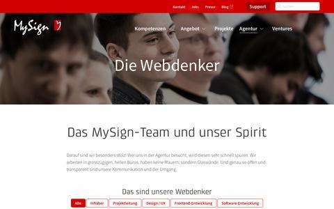 Screenshot of Team Page mysign.ch - Das MySign-Team, Mitarbeitende, Geschäftsleitung - captured Sept. 22, 2018