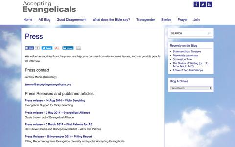 Screenshot of Press Page acceptingevangelicals.org - Press | Accepting Evangelicals - captured June 9, 2016