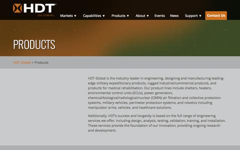 Screenshot of Products Page hdtglobal.com - Products   HDT Global - captured July 17, 2015