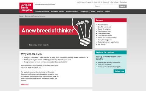 Screenshot of Jobs Page lsh.co.uk - Commercial Property Careers | Lambert Smith Hampton - captured Sept. 26, 2018
