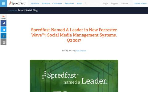 Screenshot of spredfast.com - Spredfast Named A Leader in New Forrester Wave™: Social Media Management Systems, Q2 2017 | Spredfast - captured June 12, 2017