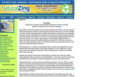 Screenshot of About Page naturalzing.com - Natural Zing - Premium Quality Raw, Organic, Vegan Food Specialty Distributor - captured Sept. 23, 2014